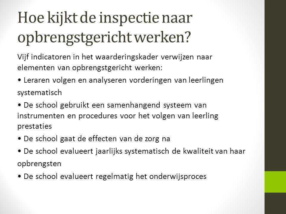 Hoe kijkt de inspectie naar opbrengstgericht werken? Vijf indicatoren in het waarderingskader verwijzen naar elementen van opbrengstgericht werken: Le