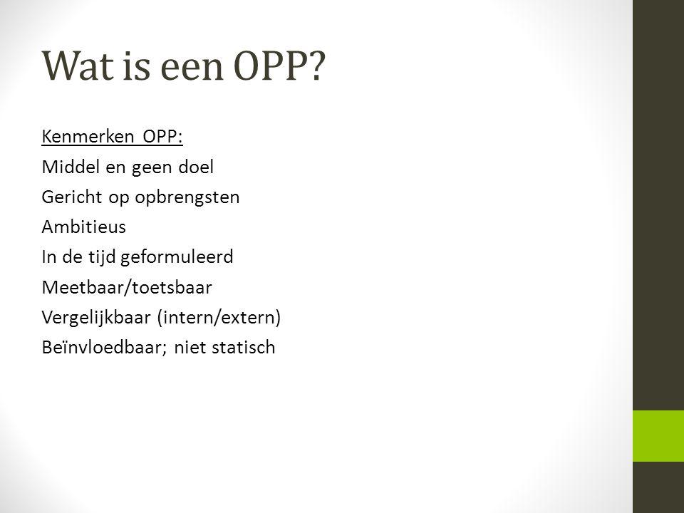 Wat is een OPP? Kenmerken OPP: Middel en geen doel Gericht op opbrengsten Ambitieus In de tijd geformuleerd Meetbaar/toetsbaar Vergelijkbaar (intern/e