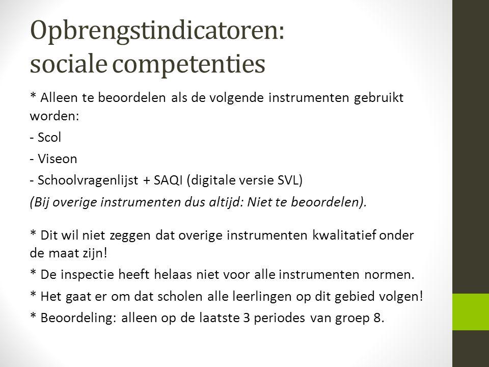Opbrengstindicatoren: sociale competenties * Alleen te beoordelen als de volgende instrumenten gebruikt worden: - Scol - Viseon - Schoolvragenlijst +