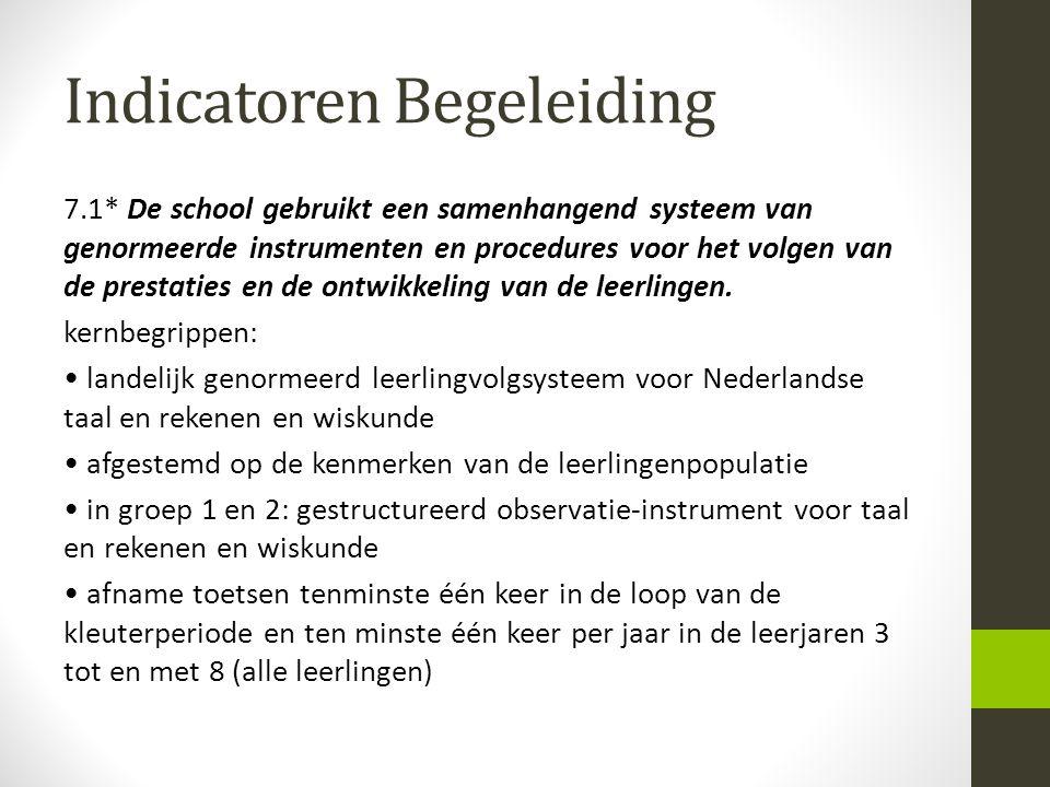 Indicatoren Begeleiding 7.1* De school gebruikt een samenhangend systeem van genormeerde instrumenten en procedures voor het volgen van de prestaties
