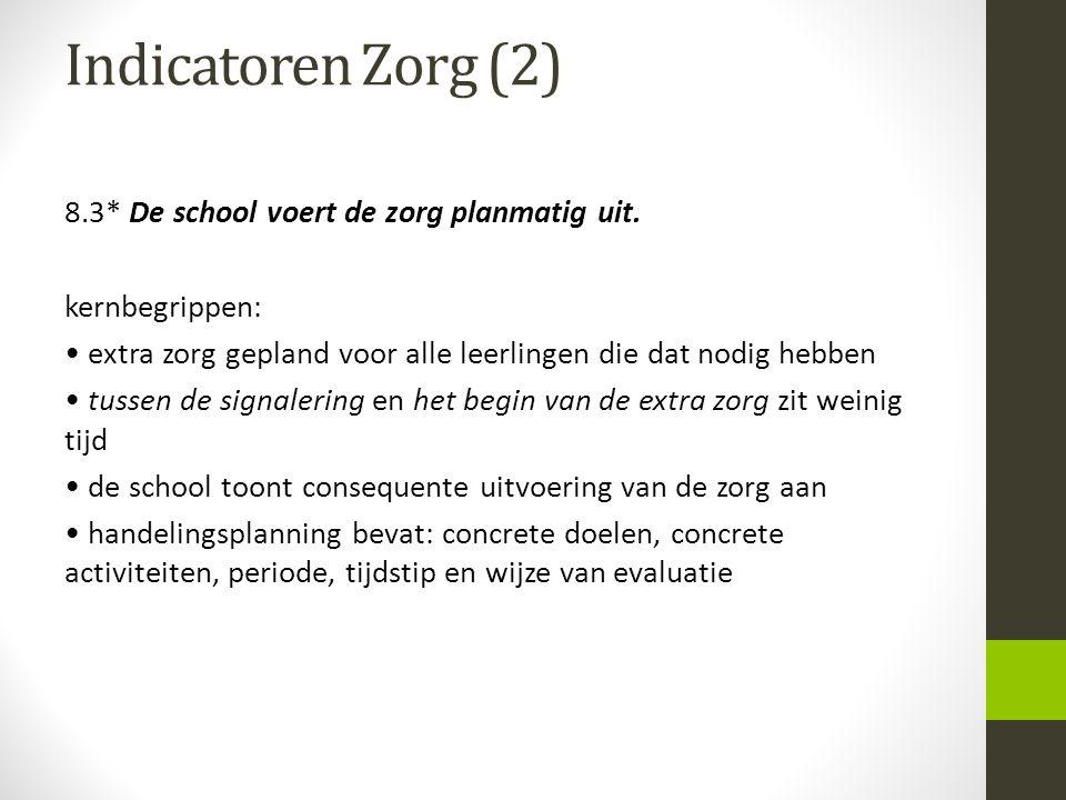 Indicatoren Zorg (2) 8.3* De school voert de zorg planmatig uit. kernbegrippen: extra zorg gepland voor alle leerlingen die dat nodig hebben tussen de