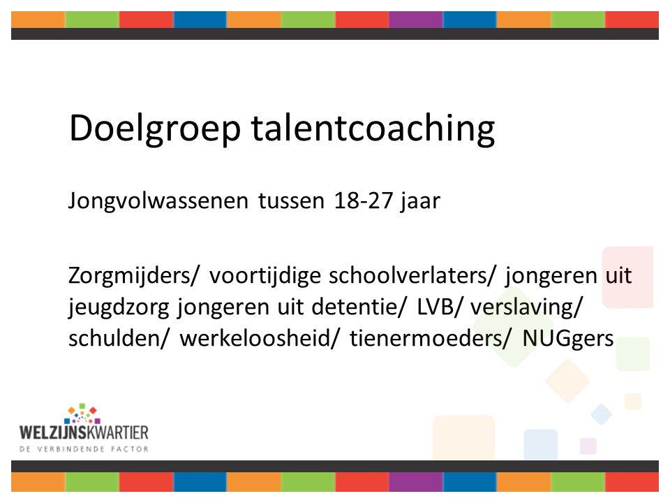 Doelgroep talentcoaching Jongvolwassenen tussen 18-27 jaar Zorgmijders/ voortijdige schoolverlaters/ jongeren uit jeugdzorg jongeren uit detentie/ LVB