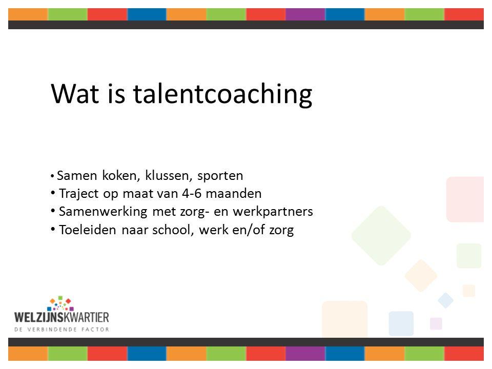 Wat is talentcoaching Samen koken, klussen, sporten Traject op maat van 4-6 maanden Samenwerking met zorg- en werkpartners Toeleiden naar school, werk en/of zorg