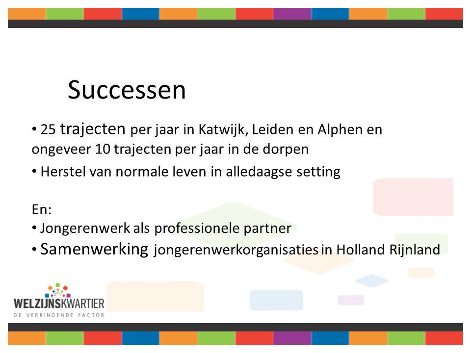 Successen 25 trajecten per jaar in Katwijk, Leiden en Alphen en ongeveer 10 trajecten per jaar in de dorpen Herstel van normale leven in alledaagse setting En: Jongerenwerk als professionele partner Samenwerking jongerenwerkorganisaties in Holland Rijnland
