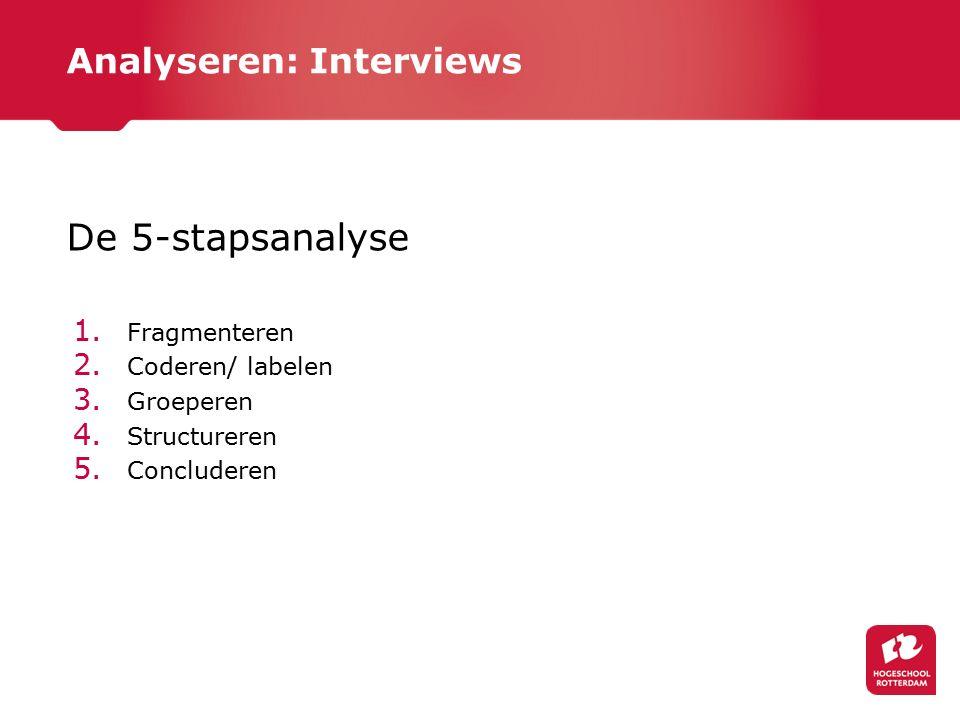 Analyseren: Interviews De 5-stapsanalyse 1. Fragmenteren 2. Coderen/ labelen 3. Groeperen 4. Structureren 5. Concluderen