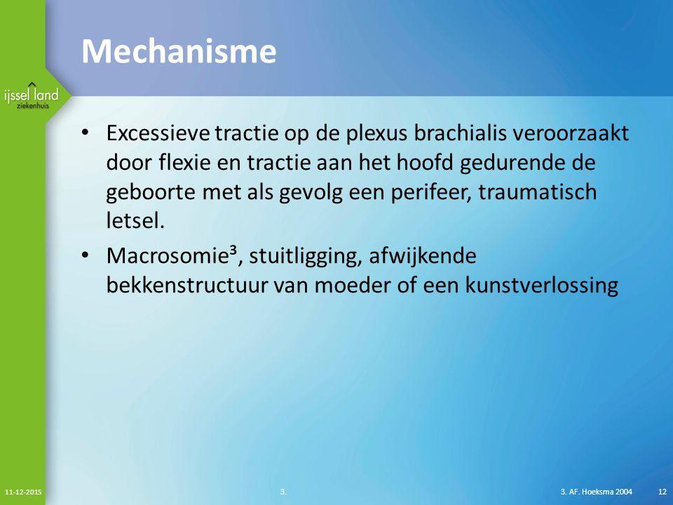 Mechanisme Excessieve tractie op de plexus brachialis veroorzaakt door flexie en tractie aan het hoofd gedurende de geboorte met als gevolg een perifeer, traumatisch letsel.