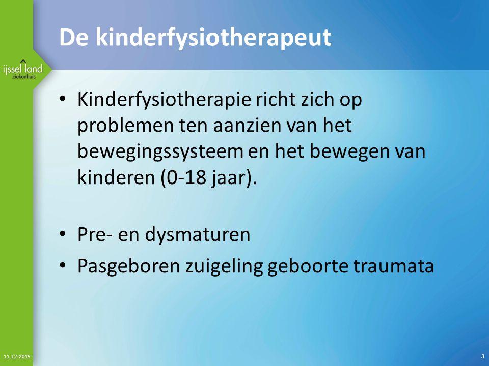 De kinderfysiotherapeut Kinderfysiotherapie richt zich op problemen ten aanzien van het bewegingssysteem en het bewegen van kinderen (0-18 jaar).