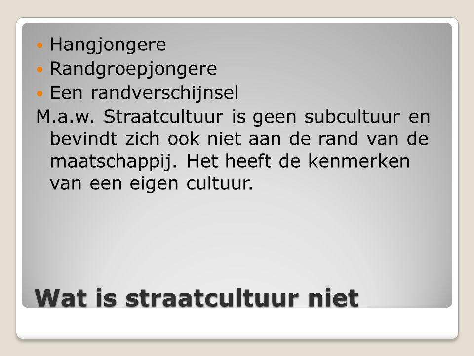 Wat is straatcultuur niet Hangjongere Randgroepjongere Een randverschijnsel M.a.w. Straatcultuur is geen subcultuur en bevindt zich ook niet aan de ra