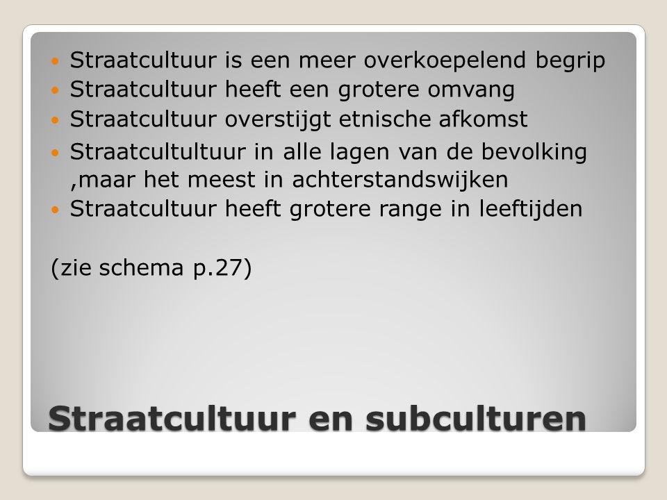 Straatcultuur en subculturen Straatcultuur is een meer overkoepelend begrip Straatcultuur heeft een grotere omvang Straatcultuur overstijgt etnische a