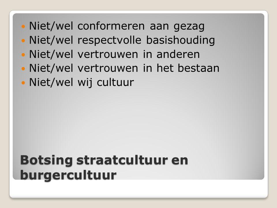 Botsing straatcultuur en burgercultuur Niet/wel conformeren aan gezag Niet/wel respectvolle basishouding Niet/wel vertrouwen in anderen Niet/wel vertr