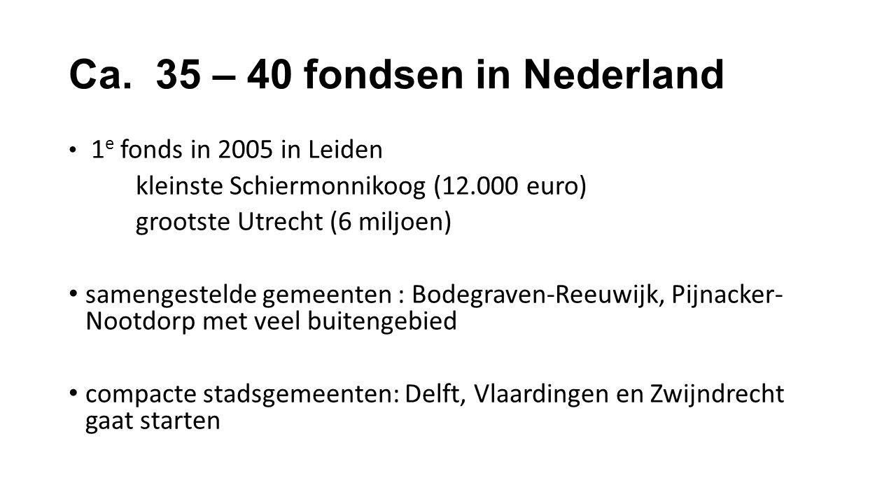 Ca. 35 – 40 fondsen in Nederland 1 e fonds in 2005 in Leiden kleinste Schiermonnikoog (12.000 euro) grootste Utrecht (6 miljoen) samengestelde gemeent