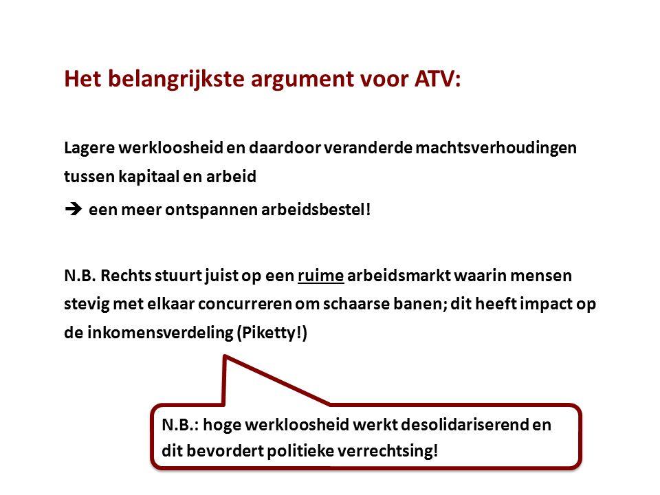 Het belangrijkste argument voor ATV: Lagere werkloosheid en daardoor veranderde machtsverhoudingen tussen kapitaal en arbeid  een meer ontspannen arb