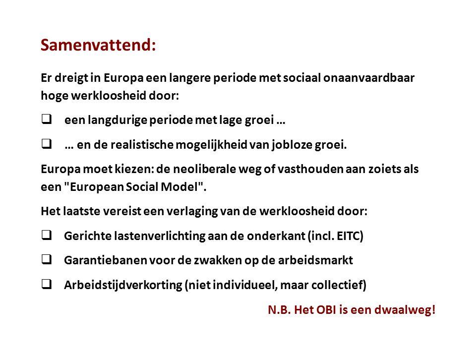Samenvattend: Er dreigt in Europa een langere periode met sociaal onaanvaardbaar hoge werkloosheid door:  een langdurige periode met lage groei …  …