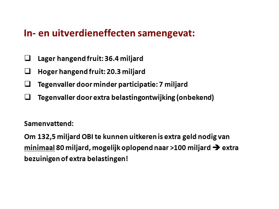 Kosten OBI (€ 132.053.700.000) in perspectief: (N.B.: Alle getallen slaan op het jaar 2013) Totale inkomsten Rijk: € 235.4 miljard Stel dat we van de 132.5 miljard kosten van het OBI uiteindelijk 40 miljard aan inverdieneffecten zouden kunnen aftrekken, dan is dus ca.