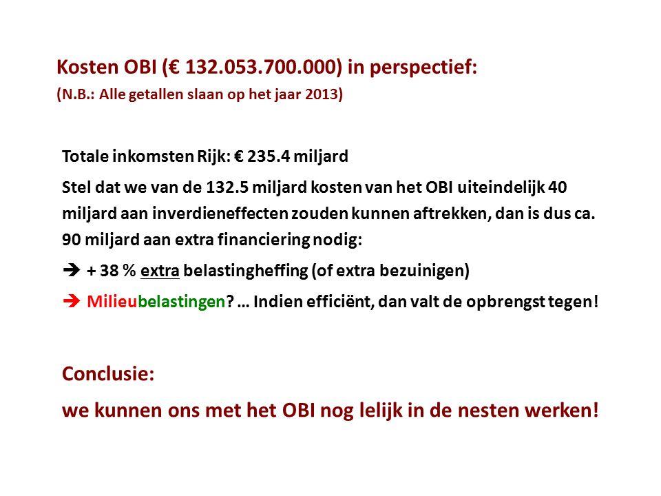 Kosten OBI (€ 132.053.700.000) in perspectief: (N.B.: Alle getallen slaan op het jaar 2013) Totale inkomsten Rijk: € 235.4 miljard Stel dat we van de