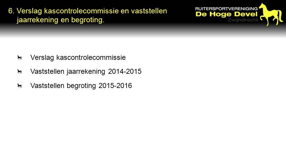 6. Verslag kascontrolecommissie en vaststellen jaarrekening en begroting.