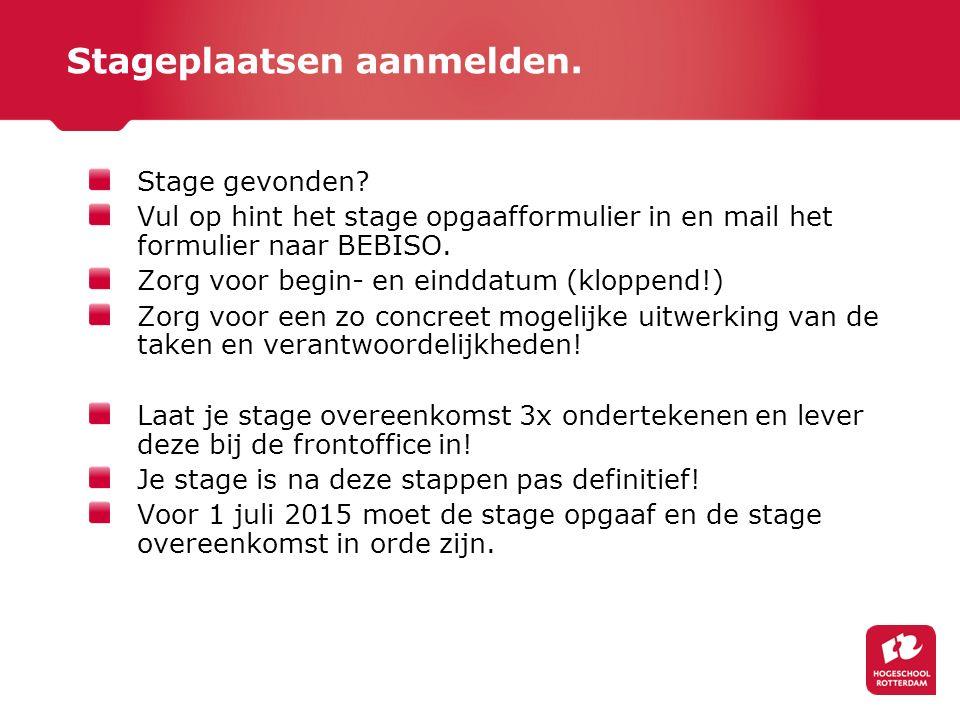 Stageplaatsen aanmelden. Stage gevonden.