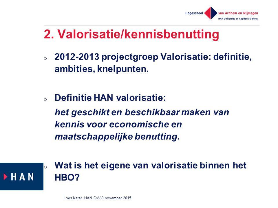 2. Valorisatie/kennisbenutting o 2012-2013 projectgroep Valorisatie: definitie, ambities, knelpunten. o Definitie HAN valorisatie: het geschikt en bes
