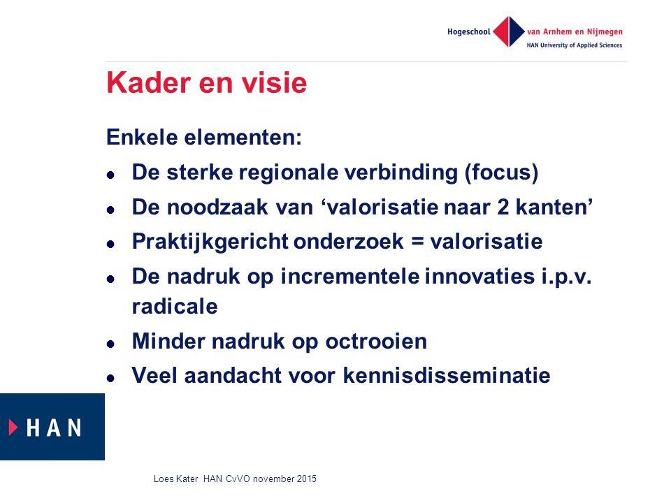 Kader en visie Enkele elementen: De sterke regionale verbinding (focus) De noodzaak van 'valorisatie naar 2 kanten' Praktijkgericht onderzoek = valorisatie De nadruk op incrementele innovaties i.p.v.