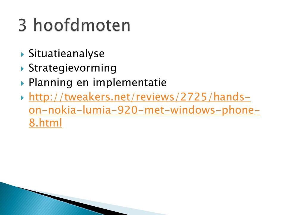  Situatieanalyse  Strategievorming  Planning en implementatie  http://tweakers.net/reviews/2725/hands- on-nokia-lumia-920-met-windows-phone- 8.htm