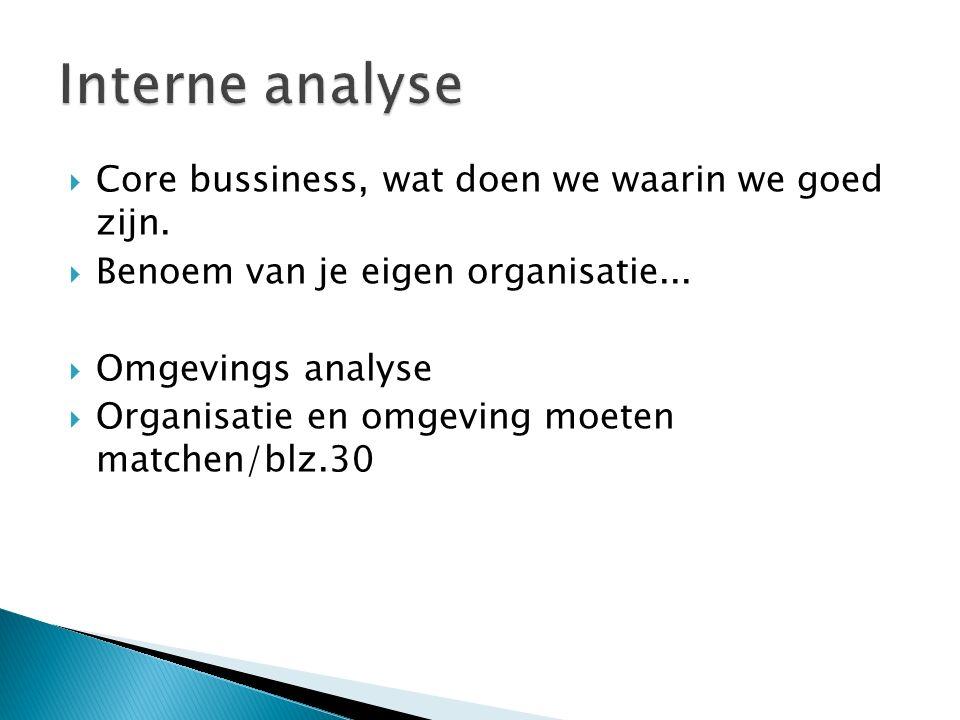  Core bussiness, wat doen we waarin we goed zijn.  Benoem van je eigen organisatie...  Omgevings analyse  Organisatie en omgeving moeten matchen/b