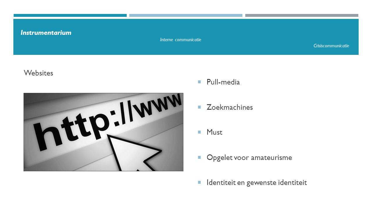  Pull-media  Zoekmachines  Must  Opgelet voor amateurisme  Identiteit en gewenste identiteit Websites Instrumentarium Interne communicatie Crisis
