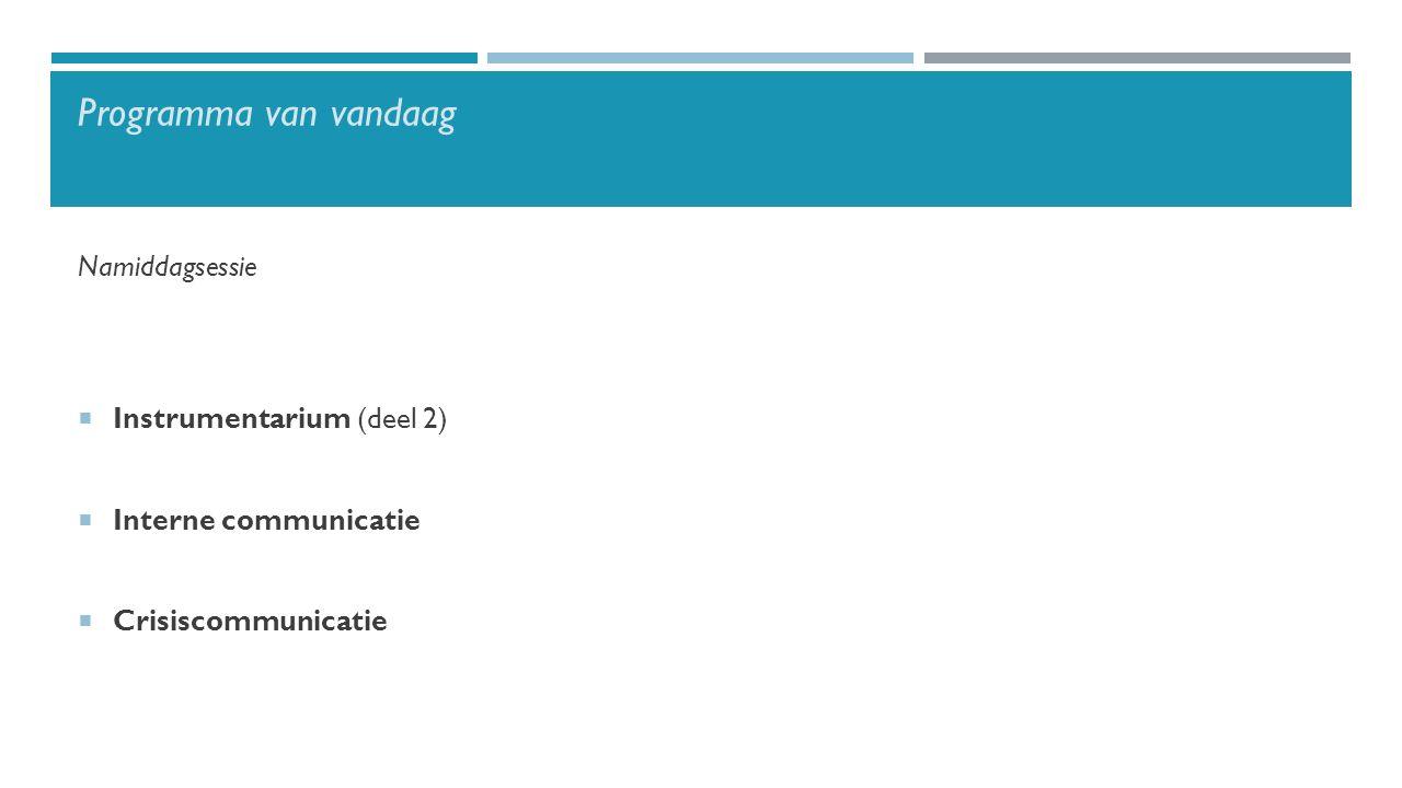 Programma van vandaag Namiddagsessie  Instrumentarium (deel 2)  Interne communicatie  Crisiscommunicatie