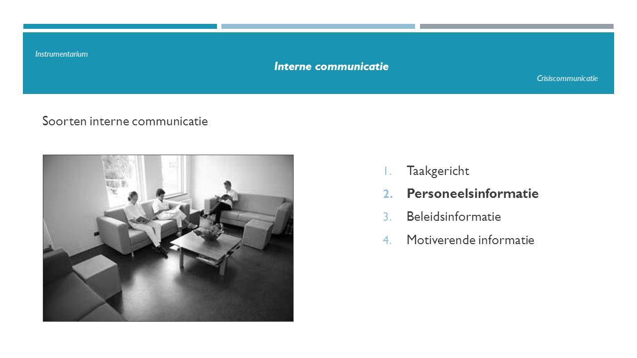 Soorten interne communicatie 1. Taakgericht 2. Personeelsinformatie 3. Beleidsinformatie 4. Motiverende informatie Instrumentarium Interne communicati