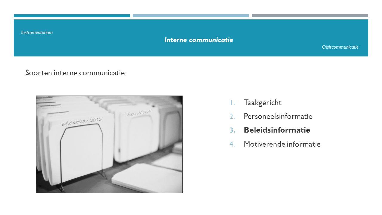 Soorten interne communicatie 1. Taakgericht 2. Personeelsinformatie 3. Beleidsinformatie 4. Motiverende informatie Beleidsplan 2016 Nieuwbouw Instrume