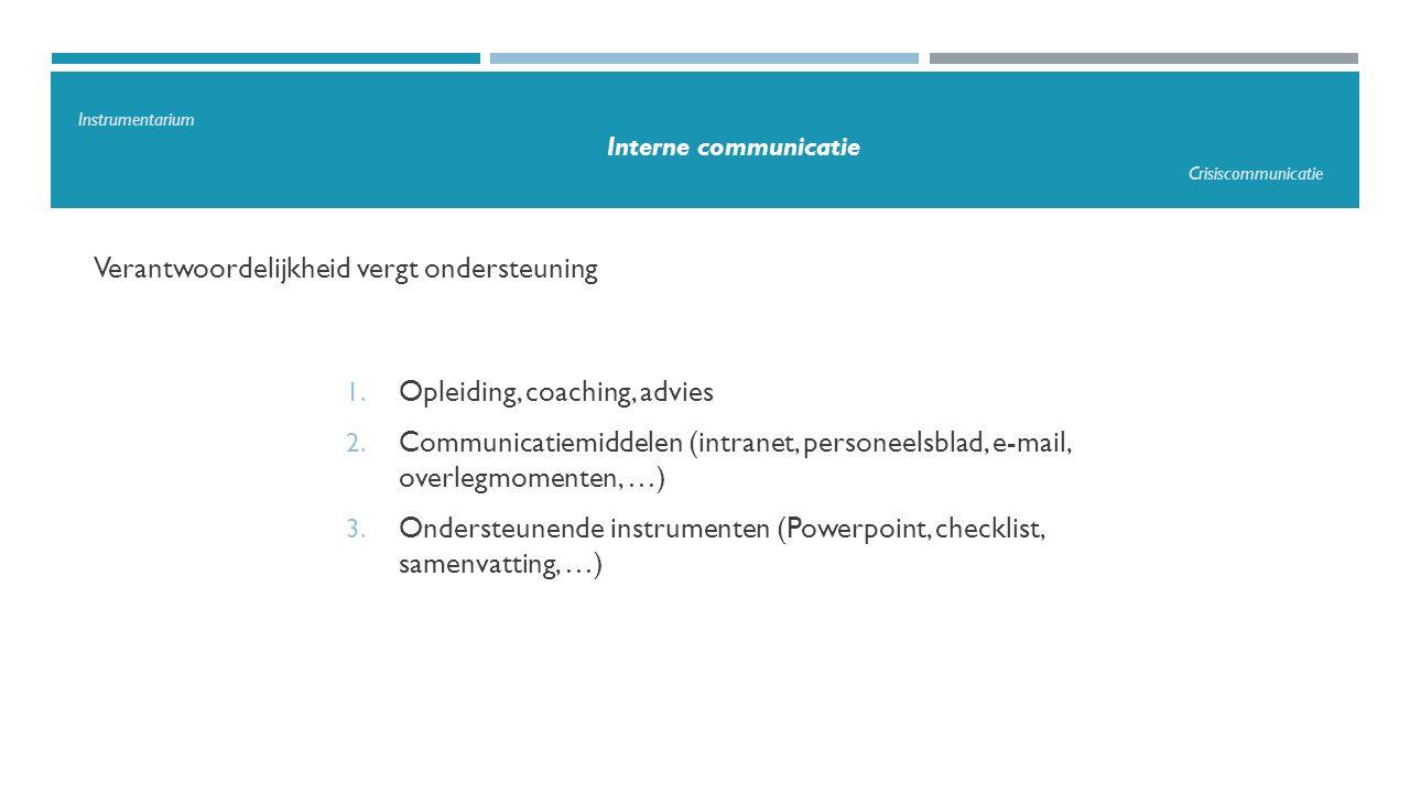 Verantwoordelijkheid vergt ondersteuning 1. Opleiding, coaching, advies 2. Communicatiemiddelen (intranet, personeelsblad, e-mail, overlegmomenten, …)
