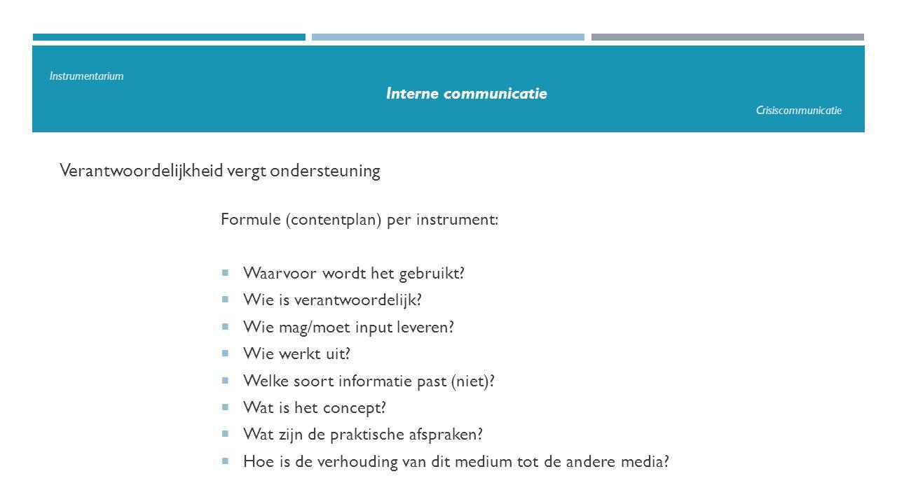 Verantwoordelijkheid vergt ondersteuning Formule (contentplan) per instrument:  Waarvoor wordt het gebruikt?  Wie is verantwoordelijk?  Wie mag/moe