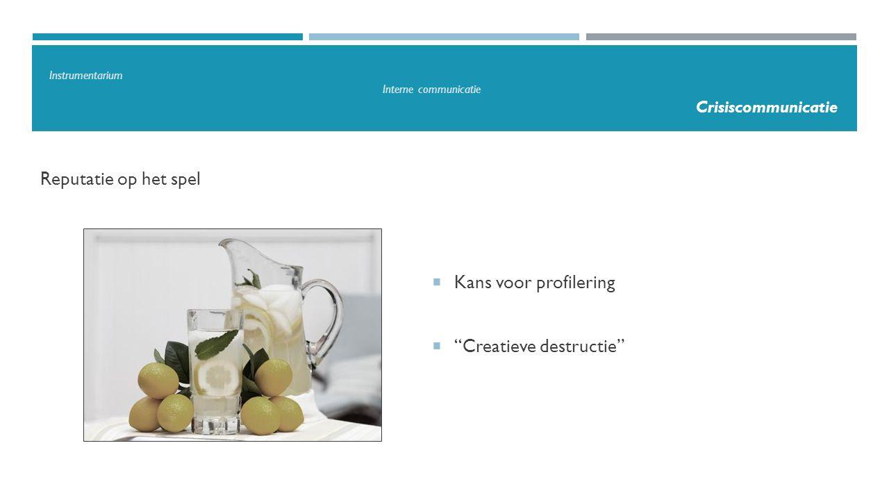 """Reputatie op het spel  Kans voor profilering  """"Creatieve destructie"""" Instrumentarium Interne communicatie Crisiscommunicatie"""