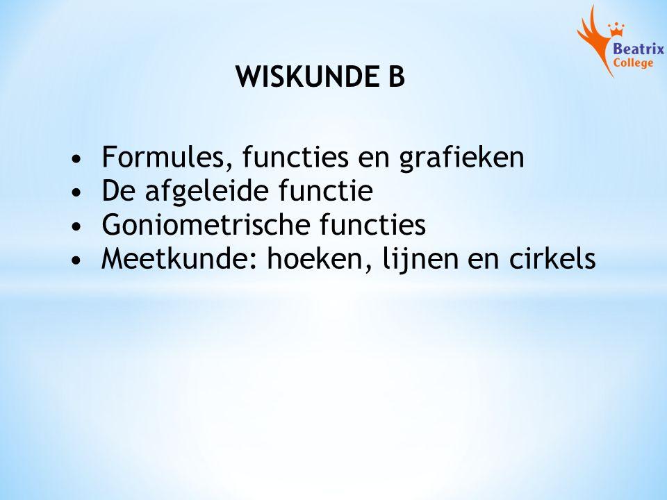 WISKUNDE B Formules, functies en grafieken De afgeleide functie Goniometrische functies Meetkunde: hoeken, lijnen en cirkels
