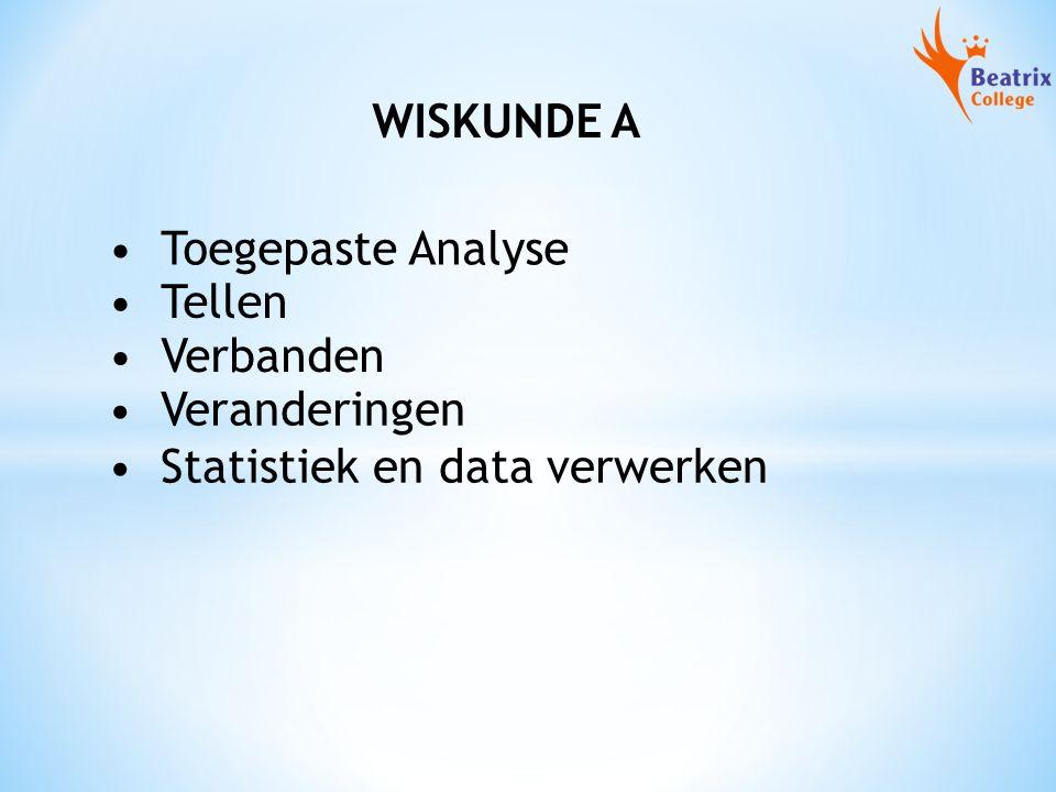 WISKUNDE A Toegepaste Analyse Tellen Verbanden Veranderingen Statistiek en data verwerken
