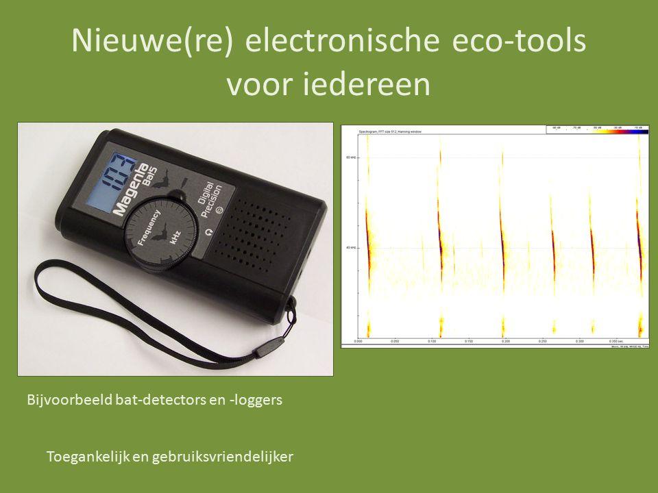 Nieuwe(re) electronische eco-tools voor iedereen Bijvoorbeeld bat-detectors en -loggers Toegankelijk en gebruiksvriendelijker