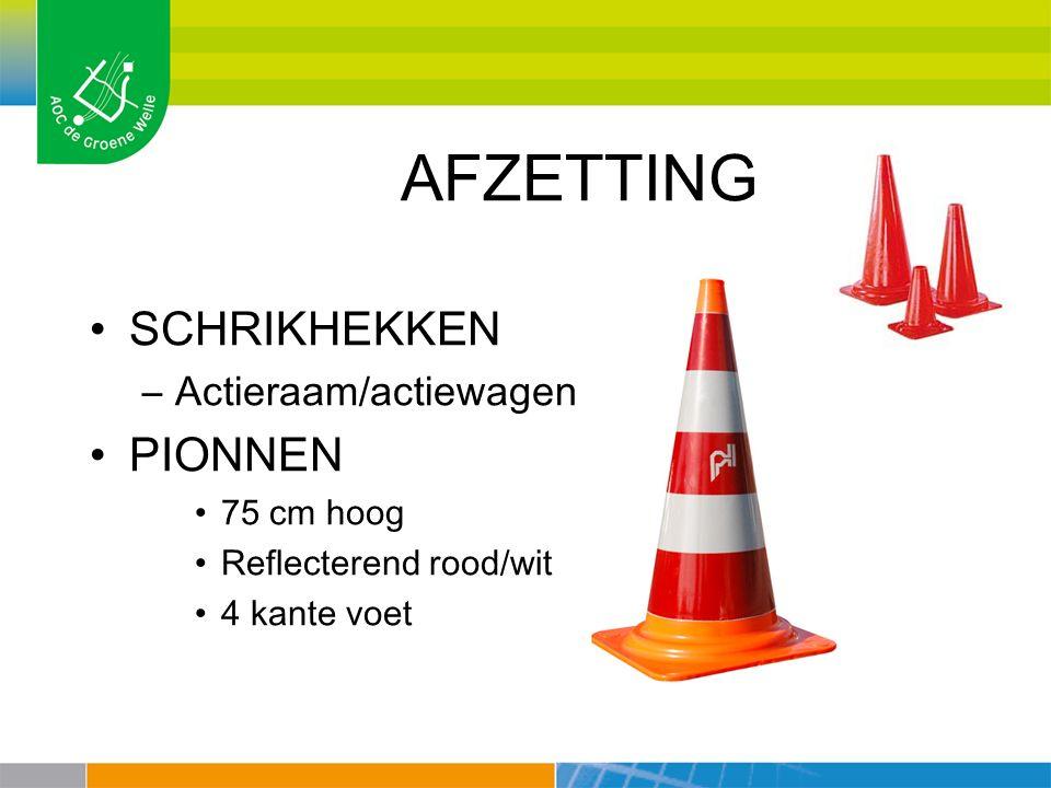 AFZETTING SCHRIKHEKKEN –Actieraam/actiewagen PIONNEN 75 cm hoog Reflecterend rood/wit 4 kante voet