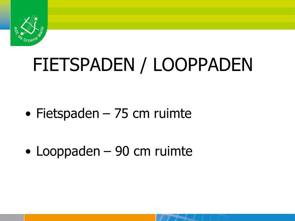 FIETSPADEN / LOOPPADEN Fietspaden – 75 cm ruimte Looppaden – 90 cm ruimte