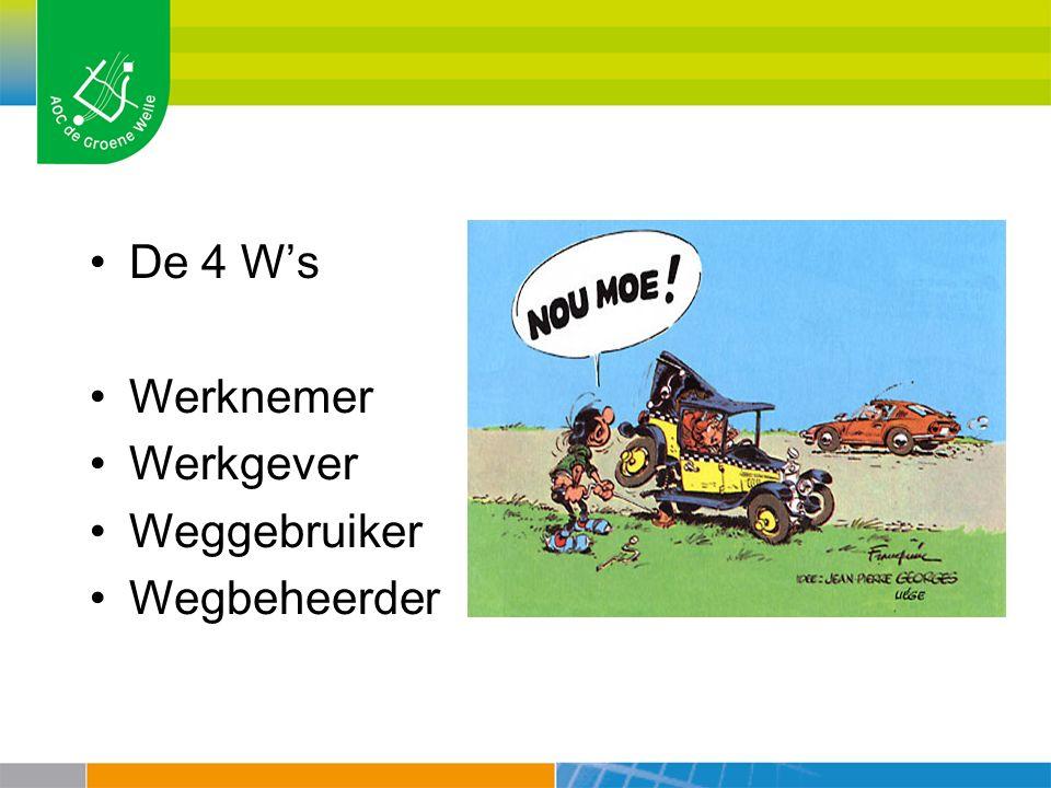 De 4 W's Werknemer Werkgever Weggebruiker Wegbeheerder