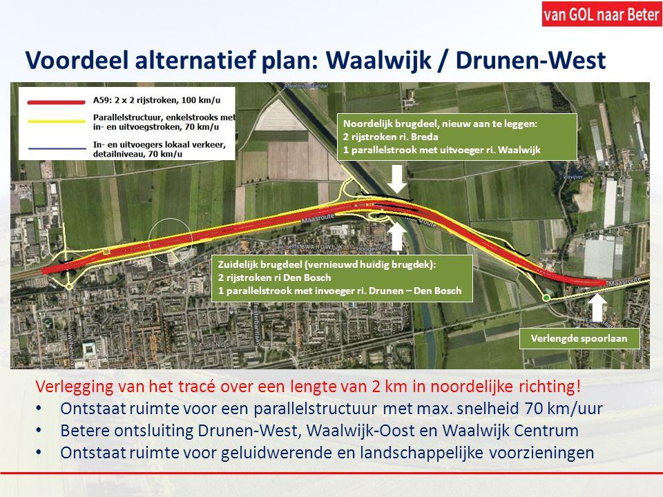 Verlegging van het tracé over een lengte van 2 km in noordelijke richting! Ontstaat ruimte voor een parallelstructuur met max. snelheid 70 km/uur Bete