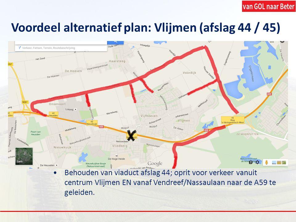 Voordeel alternatief plan: Vlijmen (afslag 44 / 45) Behouden van viaduct afslag 44; oprit voor verkeer vanuit centrum Vlijmen EN vanaf Vendreef/Nassau