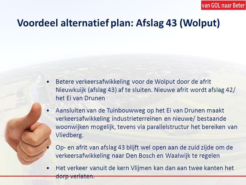 Voordeel alternatief plan: Afslag 43 (Wolput) Betere verkeersafwikkeling voor de Wolput door de afrit Nieuwkuijk (afslag 43) af te sluiten. Nieuwe afr