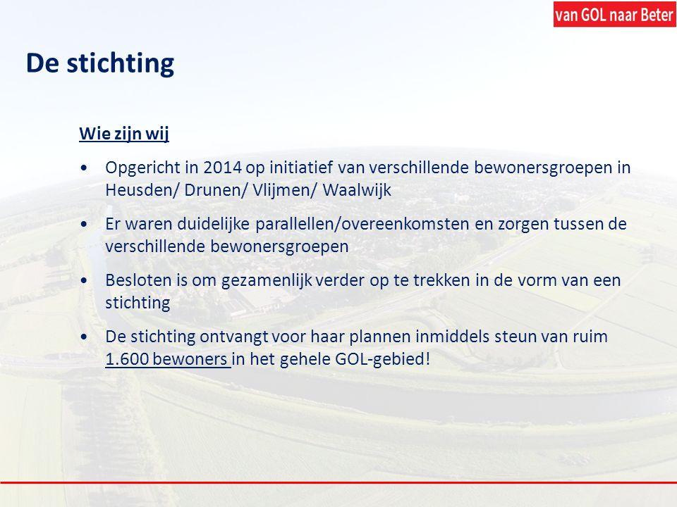 De stichting Wie zijn wij Opgericht in 2014 op initiatief van verschillende bewonersgroepen in Heusden/ Drunen/ Vlijmen/ Waalwijk Er waren duidelijke