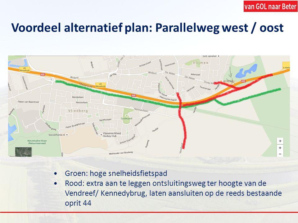 Groen: hoge snelheidsfietspad Rood: extra aan te leggen ontsluitingsweg ter hoogte van de Vendreef/ Kennedybrug, laten aansluiten op de reeds bestaand