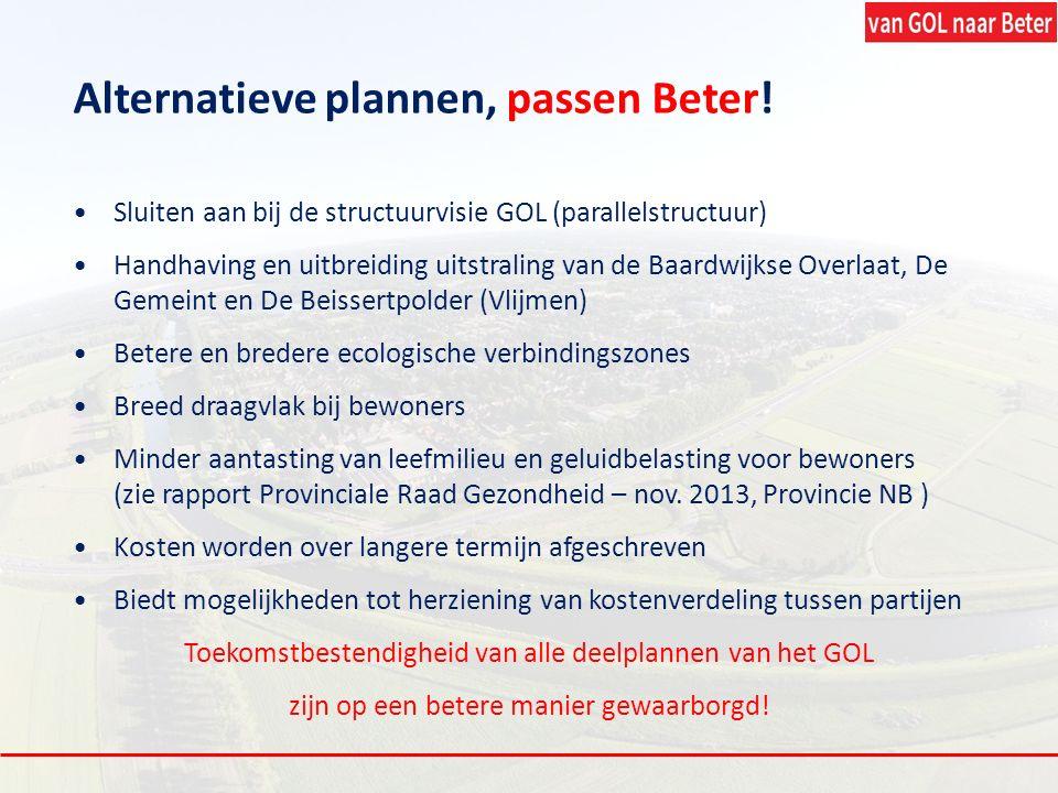 Alternatieve plannen, passen Beter! Sluiten aan bij de structuurvisie GOL (parallelstructuur) Handhaving en uitbreiding uitstraling van de Baardwijkse
