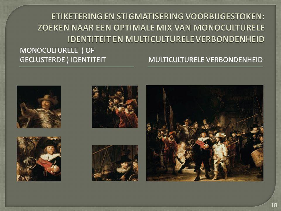 MONOCULTURELE ( OF GECLUSTERDE ) IDENTITEITMULTICULTURELE VERBONDENHEID 18