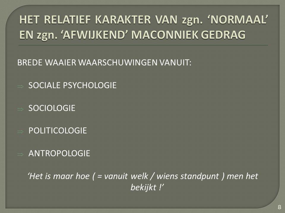 BREDE WAAIER WAARSCHUWINGEN VANUIT:  SOCIALE PSYCHOLOGIE  SOCIOLOGIE  POLITICOLOGIE  ANTROPOLOGIE 'Het is maar hoe ( = vanuit welk / wiens standpunt ) men het bekijkt !' 8
