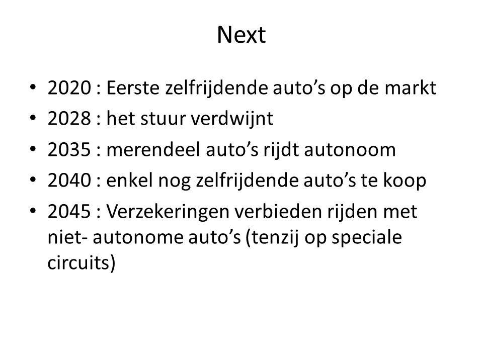 Next 2020 : Eerste zelfrijdende auto's op de markt 2028 : het stuur verdwijnt 2035 : merendeel auto's rijdt autonoom 2040 : enkel nog zelfrijdende aut