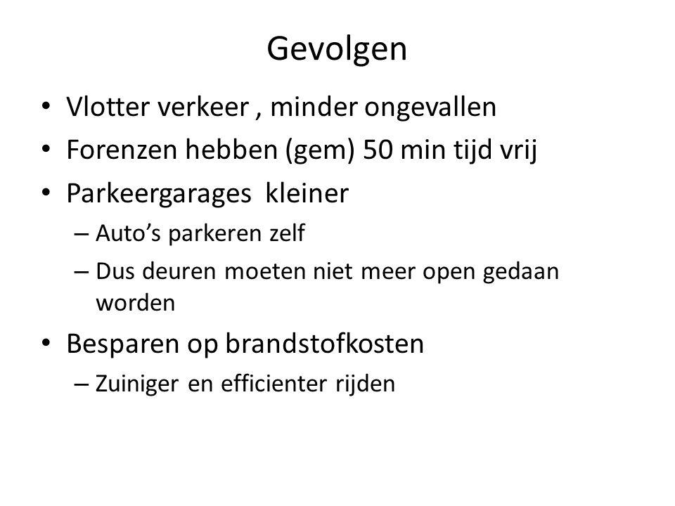 Gevolgen Vlotter verkeer, minder ongevallen Forenzen hebben (gem) 50 min tijd vrij Parkeergarages kleiner – Auto's parkeren zelf – Dus deuren moeten n