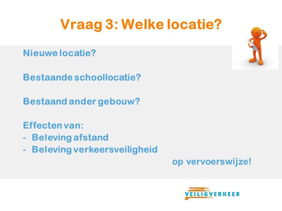 Vraag 3: Welke locatie. Nieuwe locatie. Bestaande schoollocatie.