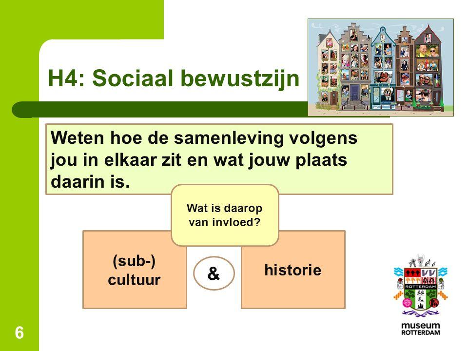 H4: Sociaal bewustzijn 6 Weten hoe de samenleving volgens jou in elkaar zit en wat jouw plaats daarin is.